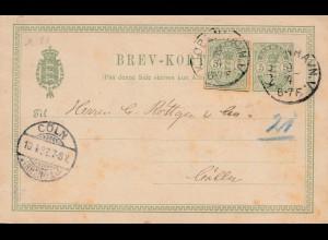 Dänemark: 1892: Ganzsache Kopenhagen nach Köln