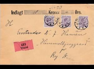 Dänemark: 1920: Wertbrief Thisted nach Ry