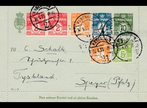 Dänemark: 1930 Ganzsache Kartenbrief Kopenhagen nach Speyer mit Textinhalt