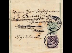 Dänemark: 1912: Streifband nach Deutschland/Freiberg