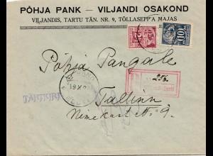 Estland: 1922: Einschreiben Viljandis nach Tallinn
