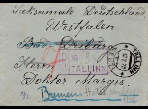 Estland: 1923: Einschreiben Tallinn nach Bremen