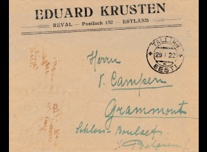 Estland: 1922: Brief von Tallinn nach Belgien