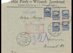 Estland: 1922: Einschreiben von Viljandis Tartu