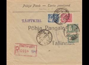 Estland: 1922: Einschreiben von Tartu nach Tallinas