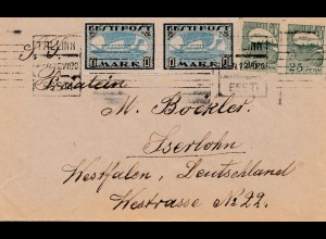 Estland: 1920 Brief von Tallinn nach Iserlohn