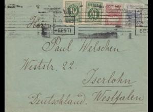Estland: 1920: Brief von Tallinn nach Iserlohn