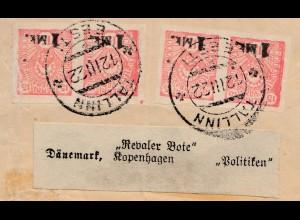 Estland: 1922: Tallin Brief nach Kopenhagen