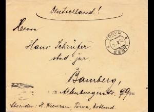 Estland: 1922: Brief aus Torva nach Bamberg