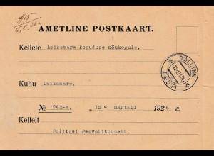 Estland: 1926: Ametline Postkaart Tallinn