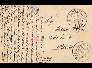 Estland: 1938: Ansichtskarte Rakvere, Taxe, Zensur