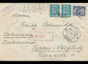 Estland: 1934: Einschreiben TartJ nach Berlin
