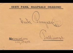 Estland: 1925: Brief von Haapsalu nach Tallinn