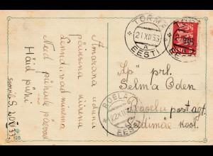 Estland: 1933: Weihnachtskarte Torma