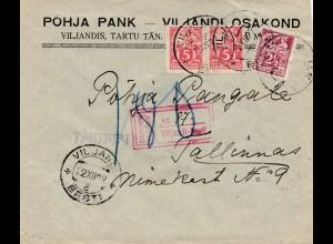 Estland: 1922 Einschreiben Viljandi nach Tallinn