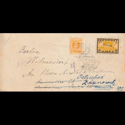Estland: 1920: Brief von Tallinn als Einschreiben nach Berlin