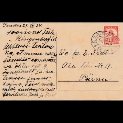 Estland: 1934: Glückwunschkarte P.V. Pärnu