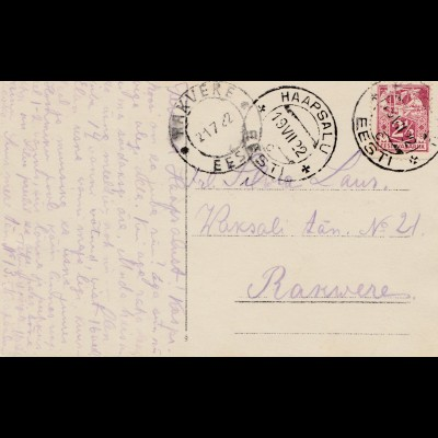 Estland: 1922: Ansichtskarte Haapsalu