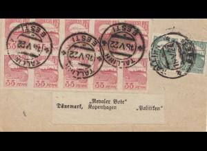 Estland: 1922: Streifbandvorderseite von Tallinn nach Dänemark