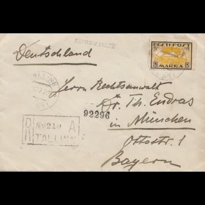 Estland: 1920 Brief von Tallinn nach München - Einschreiben: Zensur