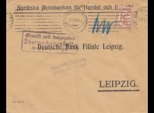 Finnland: 1918: Brief nach Leipzig: Postüberwachung / 2x Zensur
