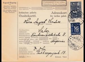 Finnland: 1931: Paketkarte Helsinki nach Salo