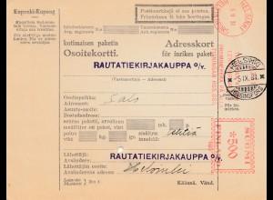 Finnland: 1931 Paketkarte Helsinki