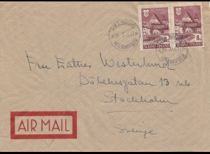 Finnland: 1948 Helsinki Luftpost nach Stockholm