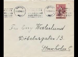 Finnland: 1946: Brief Tampere nach Stockholm