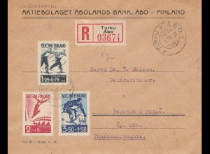 Finnland: 1938: Einschreiben Turku nach Pilzen