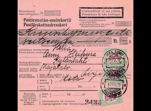 Finnland: 1928: Paketkarte Helsinki nach Kylänlahti