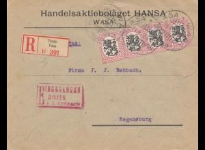 Finnland: 1923: Einschreiben von Vasa nach Regensburg