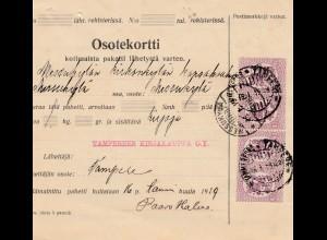 Finnland: 1919: Paketkarte von Tampere