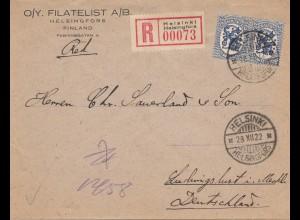 Finnland: Brief 1922 von Helsinki nach Ludwigslust