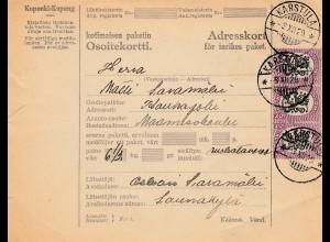 Finnland: 1929: Paketkarte Karstula