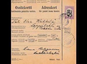 Finnland: 1929: Paketkarte