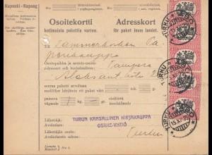 Finnland: 1925 Paketkarte nach Tampere