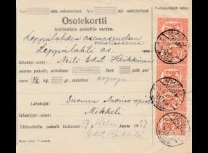Finnland: 1927: Paketkarte Mikkeli