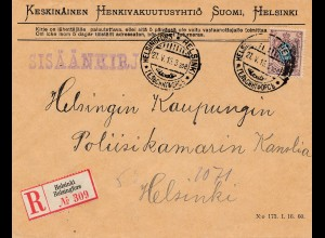 Finnland: 1915: Einschreiben Helsinki