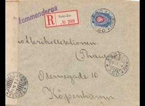 Finnland: 1914: Einschreiben Rurku-Äbo nach Kopenhagen - Censorship
