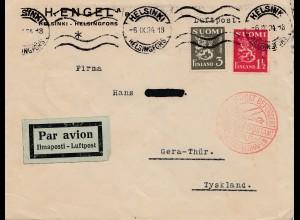 Finnland: 1934: Luftpost Helsinki nach Gera/Deutschland -Zentralflughafen Berlin