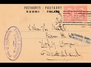 Finnland: 1914: Post card Helsinki nach Hof/Deutschland