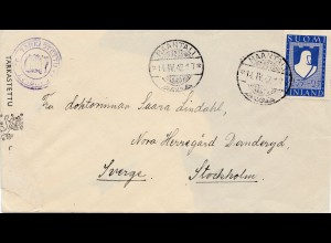 Finnland: 1942: Naantali nach Stockholm; Zensur