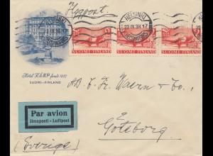 Finnland: 1938: Luftpost von Helsinki nach Göteborg/Schweden