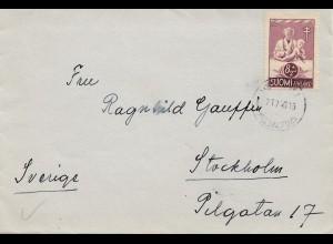 Finnland: Brief 1946 nach Schweden