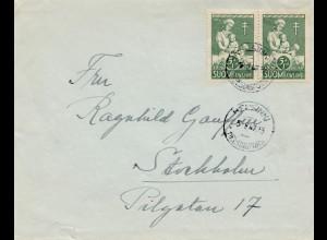 Finnland: 1947: Brief Helsinki nach Schweden