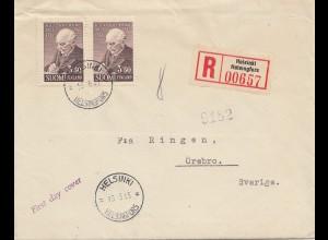 Finnland: 1945: Einschreiben Helsinki nach Schweden