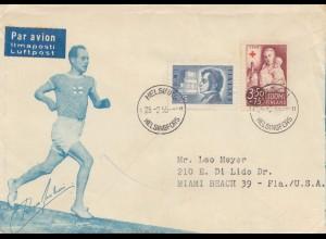 Finnland: 1955: Luftpost Helsinki nach USA: Läufer