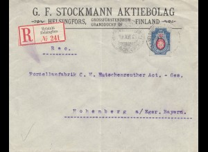 Finnland: 1913: Einschreiben Helsinki nach Hohenberg/Deutschland