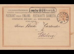 Finnland: 1879: Ganzsache über Stockholm nach Göteborg